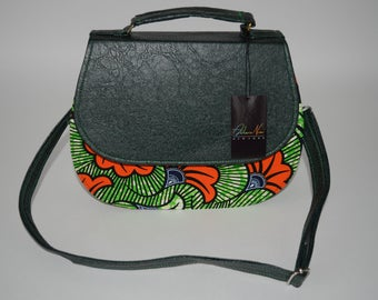 """African Print and Leather """"Omolola"""" adjustable convertible shoulder bag by AnkaraNimi"""