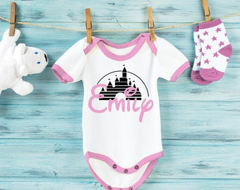 Disney Princess inspired customized contrast baby grow bodysuit with Castle and baby's name.