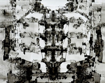 Large Original Ink Drawing, Abstract Modern Art, Contemporary Art, 40x28 inches, 100x70 cm, Achromatic Art Drawing Vertical
