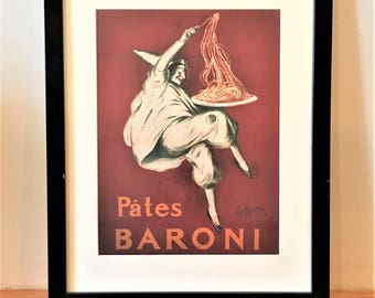 Pates Baroni Framed Print by Italian Artist Leonetto Cappiello, Vintage Food and Drink Advertising, Spaghetti Art