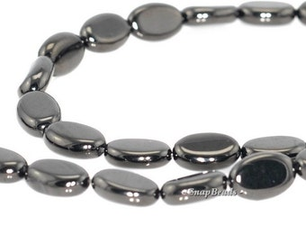 Organic Black Jet Gemstone Black Oval 12x8mm Loose Beads 16 inch Full Strand (90146746-152)