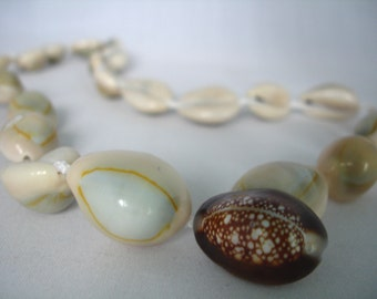 Shell Necklace - Cowrie Shell Bead Necklace - Limpet Shell Pendant Bead - Summer Beach- Knotted - Seashell Necklace - Fashion Jewelry - Gift