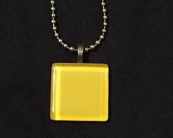 Simple Yellow Square glass pendant