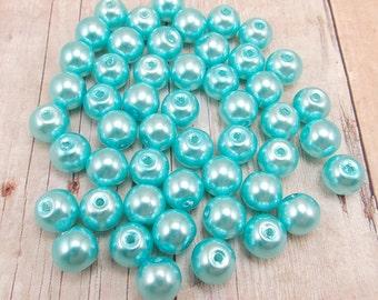 8mm Glass Pearls - Light Turquoise Blue - 50 pieces - Light Aqua - Dark Robin's Egg