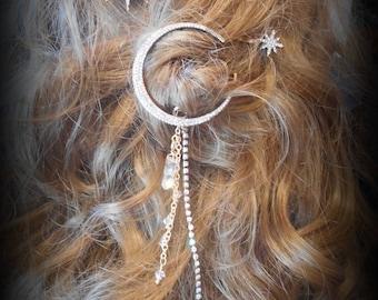 Moon & Stars Hair Clips, Hair Jewelry, Moon Star Barrettes, Set of 3, Rhinestones