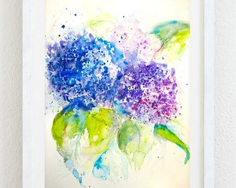Hydrangea Watercolor Painting, Original Art, Original Painting, Hydrangeas Painting, Hydrangea Art, Hydrangea Watercolor, Watercolor Flowers