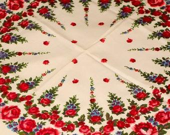SALE! Ivory Wedding Shawl Floral Shawl Bridesmaid Shawl Russian Shawl Scarf Bohemian Shawl White Wool Shawl Boho Floral Shawl Festival Shawl