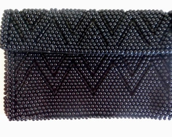 Bag Evening bag by Susan Vintage Black clutch Purse Beaded  In Japan-Tagged Like new