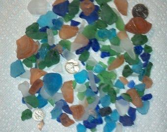 Beach Glass  Seaglass 1 lb  pound , 16 ounces approx  Blue ,Green ,Clear White, Amber peach color, Aqua blue Tumbled Glass