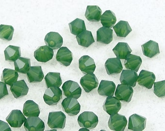 48 PALACE GREEN OPAL 4mm Bicones - Swarovski Bicone Beads 5301 5328 4mm Beads - Rich Translucent Green