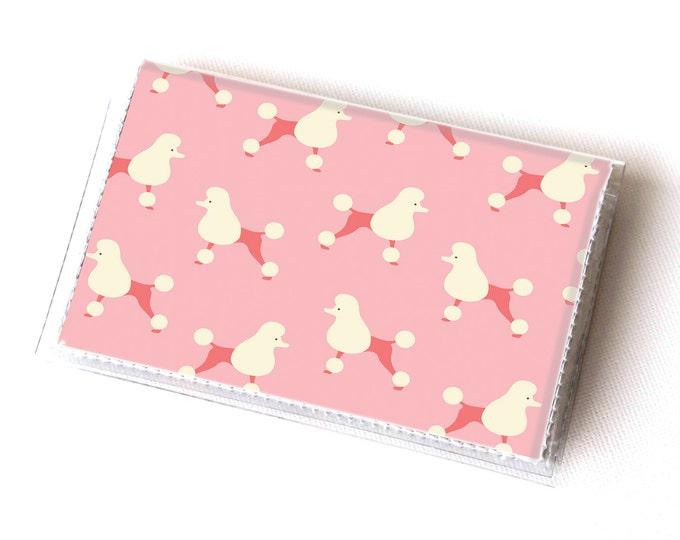Vinyl Card Holder - Pink Poodle / dog, pet, pink, paris, card case, vinyl wallet, women's wallet, small, pretty, handmade, cute, retro