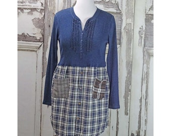 Upcycled Clothing Boho Chic Dress Blue Knit and Plaid Dress Xlarge Clothing