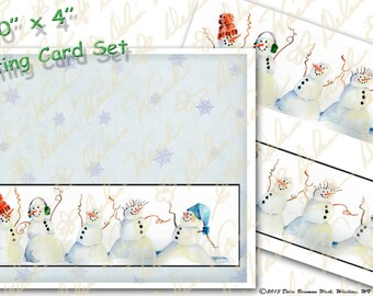 Dancing Snowmen Greeting Card - Digital Collage Sheet - Clip Art - Instant Download - Printable Files - JPG & PDF Formats