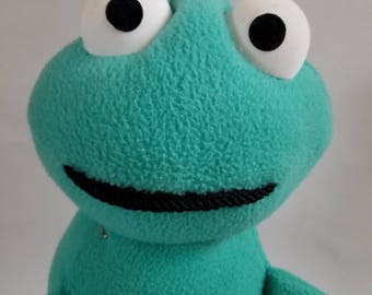 Handmade Frog Plush by David Stephens (teal)