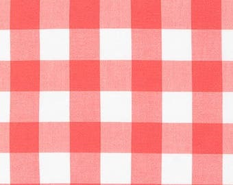 """Coral 1"""" Plaid Cotton, Carolina Gingham, Scarf Fabric,Coral White Plaid Quilting fabric,Apparel Fabric, Gingham cotton Scarf, Robert Kaufman"""
