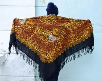 Pavlovo Posad shawl, Russian Wool shawl, Tablecloth, Scarf With Tassels, Animal print scarf, Leopard Brown Scarf, Women Accessories