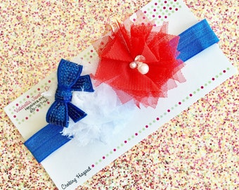 Red white and blue Headband patriotic headband 4th of July  headband girls hair clip set USA American pride baby girl Americana headband