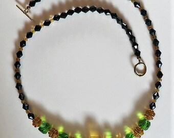 Vintage Black Glass Bead Necklace