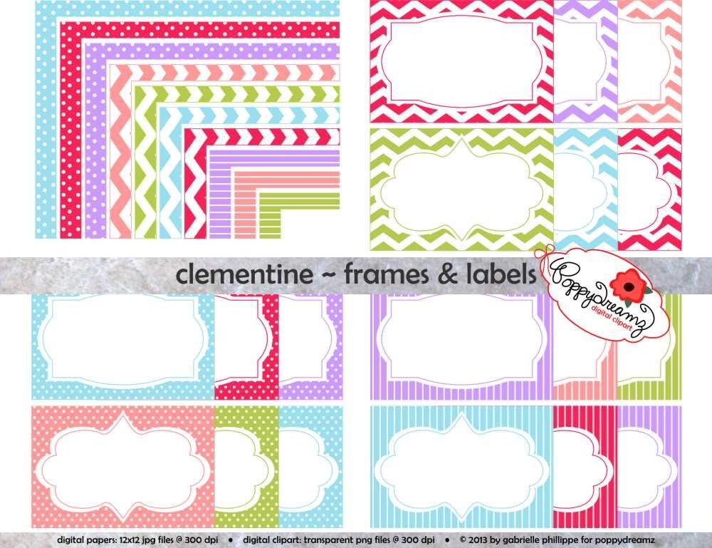 Clementine Frames & Etiketten: Clip Art Pack Karte machen