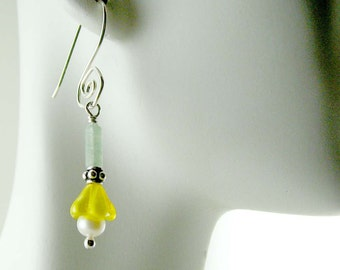 Yellow Flower Pearl Sterling Silver Dangle Earrings E356