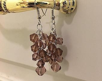 Purple Brown Cluster Earrings