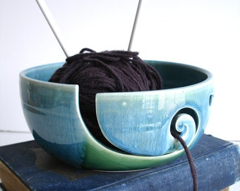 Forest Green Wheel Thrown Yarn Bowl MADE TO ORDER