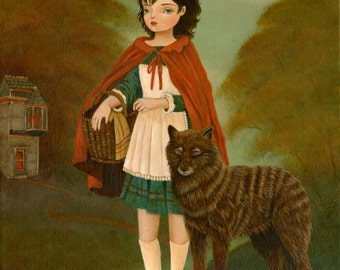 Red Riding Hood & The Gentle Wolf Print 8x10 - Fairytale Art, Fairy Tale, Children's Art, Girls Room Art, Poster, Girl Art Print, Kids Decor