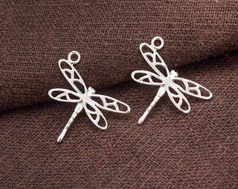2 of 925 Sterling Silver Small Dragonfly Charms 16x19 mm.  Polished Finish  :tj0062