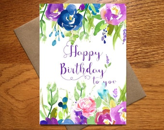 Every Day Spirit / Watercolor Happy Birthday Card For Her / Floral Birthday Card / Beautiful Birthday Card / Purple Birthday Card / 5x7