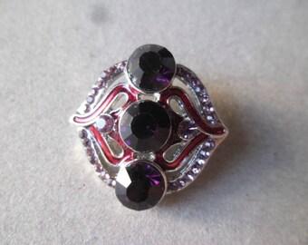 x 1 snap (jewelry) rhinestone purple heart motif silver 25 mm x 24 mm