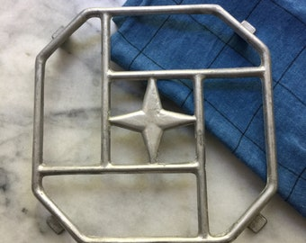 French Vintage Aluminium Metal Trivet, Pot Stand,