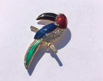 Beautiful brilliant Clear Rhinestones and Red , Blue, Green and Black Enamel Toucan Bird Brooch, Tropical Bird, Fashion Jewelry