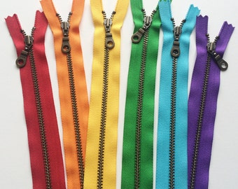 Metal Teeth Zippers- YKK Antique Brass Donut Pull Number 4.5s-  6 pc Rainbow Sampler Pack- available in 5 or 12 inch