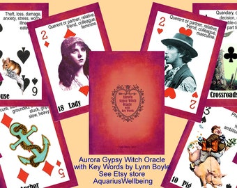 Aurora Gypsy Witch Fortune Telling Oracle Cards with Key Words. Brand New. Self Published.