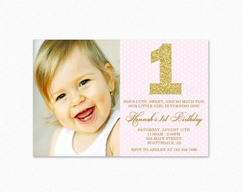 1st Birthday Party Invitation, Pink, Gold Glitter, Milestone Invitation, Personalized, Printable or Printed