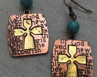 Copper & Turquoise Cross Earrings- Lightweight Copper Cross Earrings- Religious Earrings- Religious Jewelry- Religious Accessories- Crosses