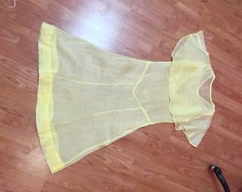 1920s sheer yellow dress
