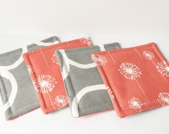 Coral Coasters Dandelion Fabric Reversible Coasters Fabric Coasters Cotton Set of 4 Modern Home Decor