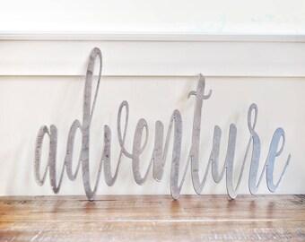 FREE SHIPPING!!!   Adventure, Metal Sign, Metal wall art, Custom Metal Work, Cursive Writing