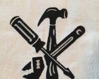 Embroidered Handyman Tool Towel with Grommet & Hook