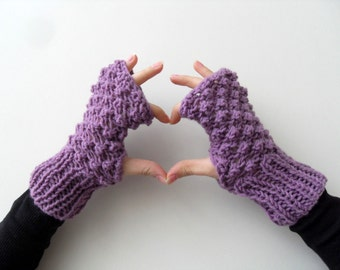 Fingerless Gloves, Purple Gloves, Amethyst Plum Violet, Popcorn Knit, Blackberry Knit, Bubbles, Winter Fashion Valentines Day Gift