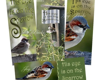 His Eye Is On The Sparrow Set of 4 Printed Hymn Bookmarks w Song Lyrics Gift Card Insert Folk Song Ministry Gift Vintage Verses Blue Green
