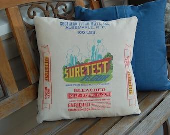 "Vintage Flour Sack Pillow Covers - Medium Blue Denim 18""x18"""