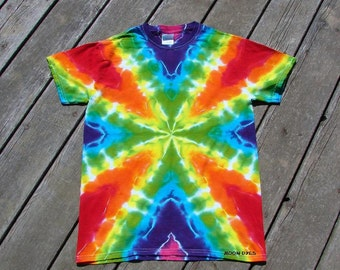 Rainbow Vibes Tie Dye Tee - Adult (Small) Tye Dye Radio Wave