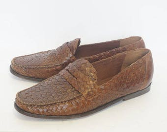 Vintage 90's Cole Haan Brown Weaved Loafers- Womens Size 8 B