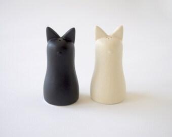 Shio Kosho Salt and Pepper Shakers - Black and Ivory Cream