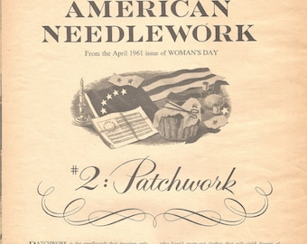 Patchwork Quilt Patterns The Story of American Needlework Woman's Day 1961