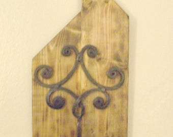 Country Rustic Candle Holder, Wrought Iron Wall Hanging, Reclaimed Wood Sign