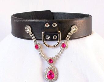 Pink Crystal Jeweled Black Leather Slave Collar  (COL141)