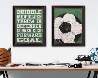 Soccer Vintage Weathered Wall Art Paper Prints